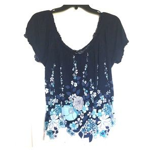 Tops - Blue and White Floral Top